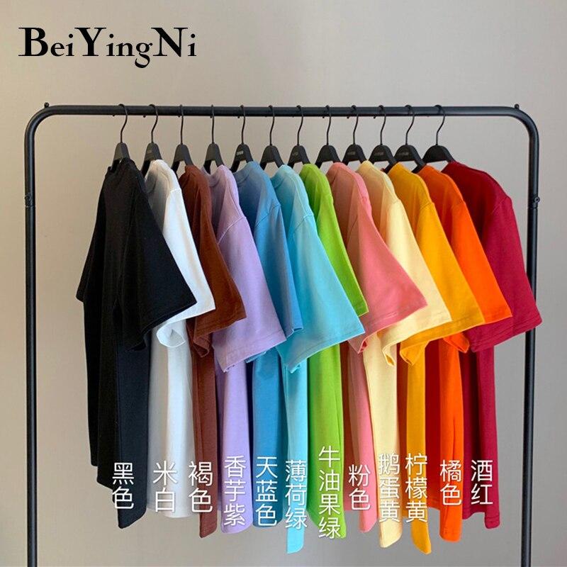 Beiyingni 2020 verão harajuku camiseta feminina o pescoço casual plus size algodão feminino topos solto chique simples t camisa ropa mujer