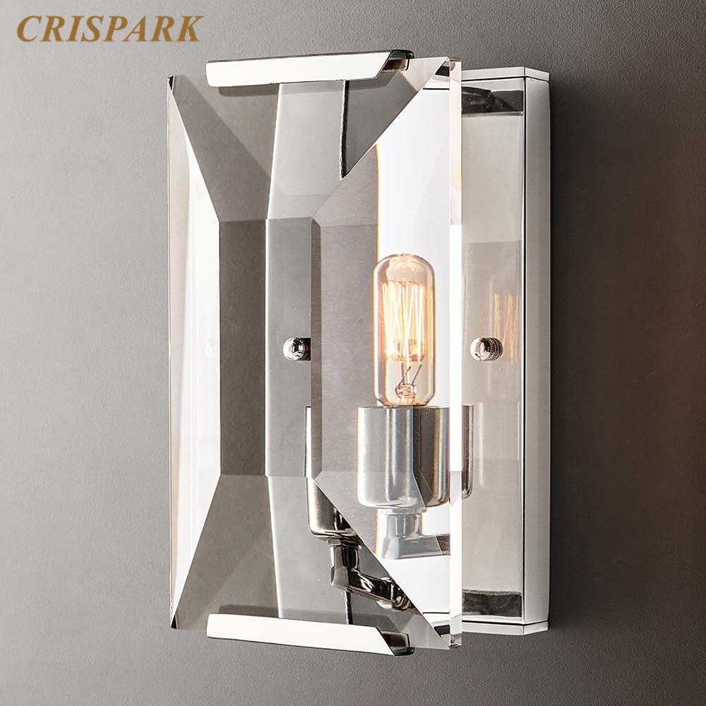 Lámpara de pared del dormitorio de Cristal, candelabro LED Rectangular de Cristal...