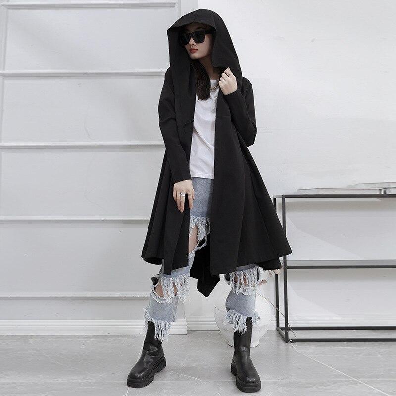 السيدات منتصف طول مقنعين خندق معطف الربيع والخريف جديد ياماموتو نمط الظلام اللون الرجعية الترفيه حجم كبير خندق معطف