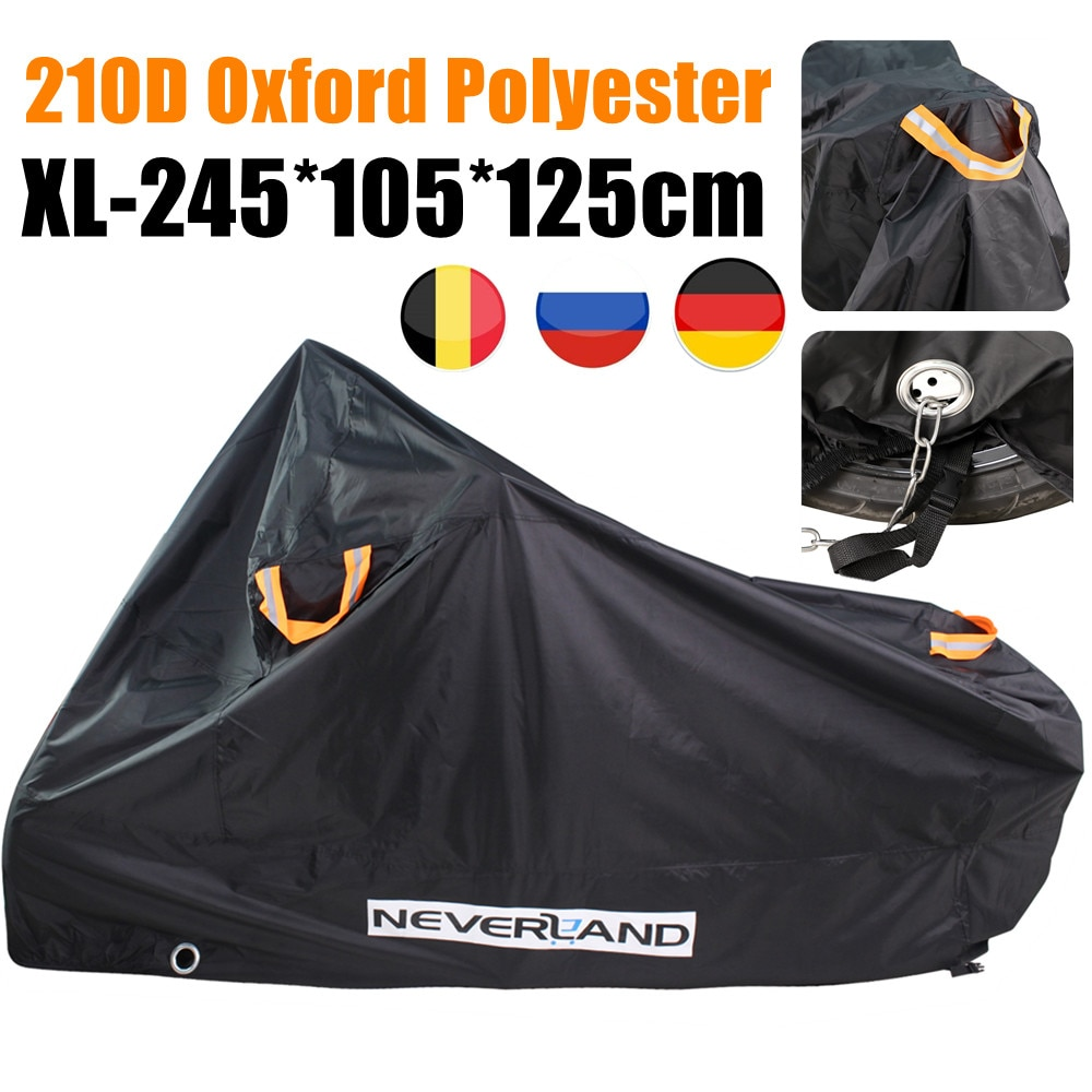 XL 245cm 210D Oxford Motorcycle Cover Motor Bikes Dirt Scooter Striped Waterproof Outdoor Indoor Rain Snow UV Sun Dust Protector