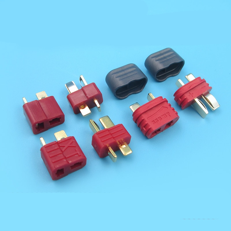 Durable T Plug Male Female Gold Plated T Plug Battery Connector Adapter Plugs with Protective Sleeve for RC Aircraft Connecting 10 pairs t plug male