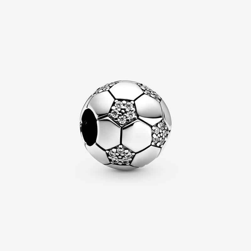 2020 New 925 Sterling Silver Beads Sparkling Football Charms fit Original Pandora Bracelets Women DIY Fashion Jewelry
