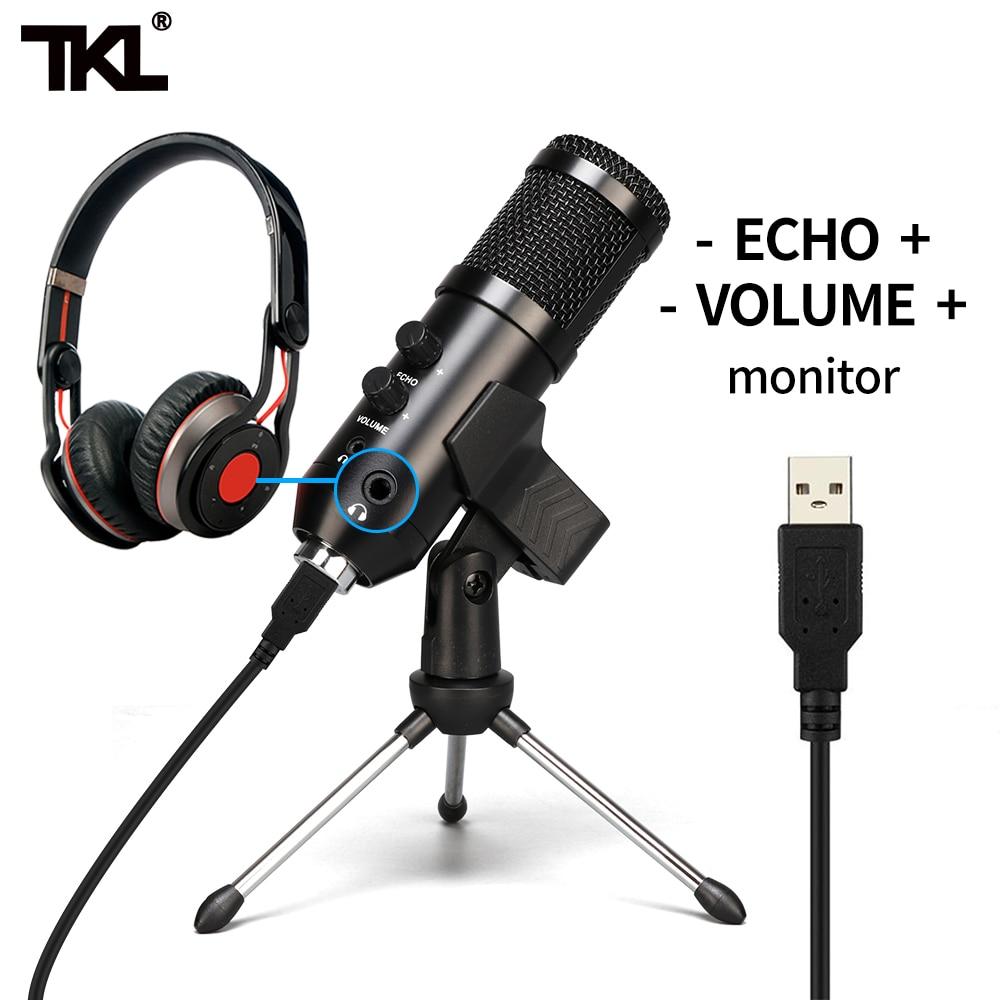 TKL-ميكروفون مكثف USB احترافي ، مجموعة ميكروفونات أحادية الاتجاه لتسجيل الألعاب على YouTube