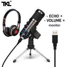TKL-micrófono USB para grabación de juegos, condensador de Podcast, Kit de micrófonos unidireccionales para Streaming de PC profesional, YouTube