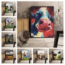 Peinture murale en forme de vache 5D   Ronde, broderie diamant, image complète strass, accrochage mural, artisanat