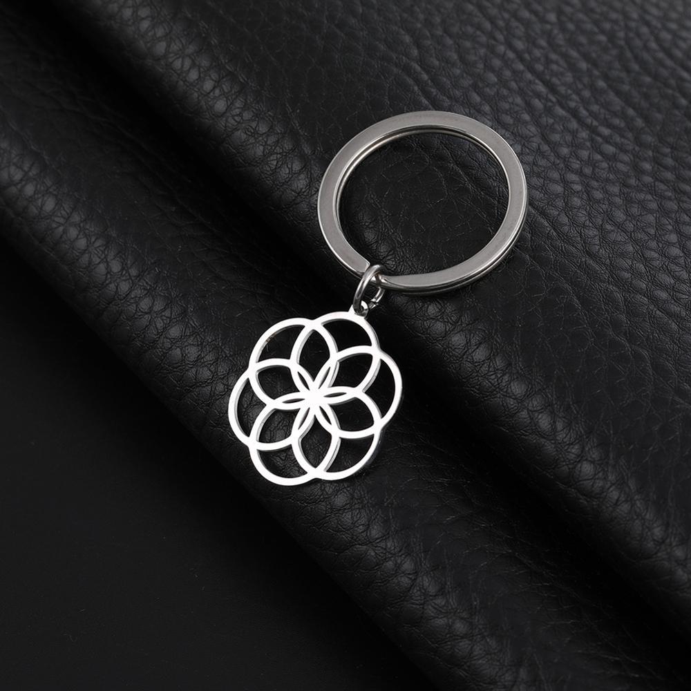 Llavero mi forma flor de la vida 316L llavero de acero inoxidable círculo colgante joyería redonda Año nuevo regalo para mujer llavero