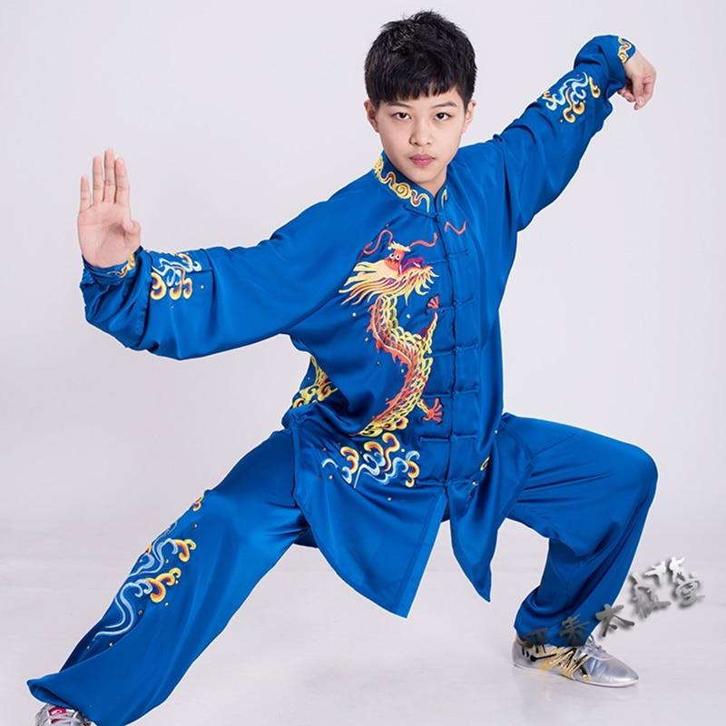 Fahsion Wushu Униформа с вышивкой дракона крыло Чун Одежда Тай Чи костюмы боевые искусства костюм кунг фу Униформа FF2247|Наборы| | АлиЭкспресс
