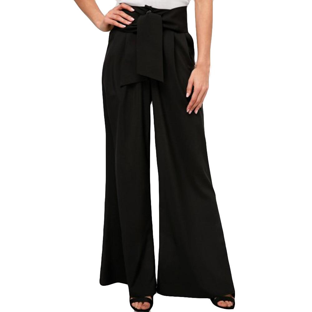 Casual algodón Lino mujer cintura alta pierna ancha pantalones verano otoño Oficina banda suelta palazzo Pantalones mujer negro # B