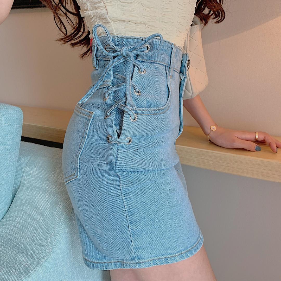 Denim lace-up faldas lápiz moda femenina empire mini azul empire chic botón falda bottoms mujeres fotos reales