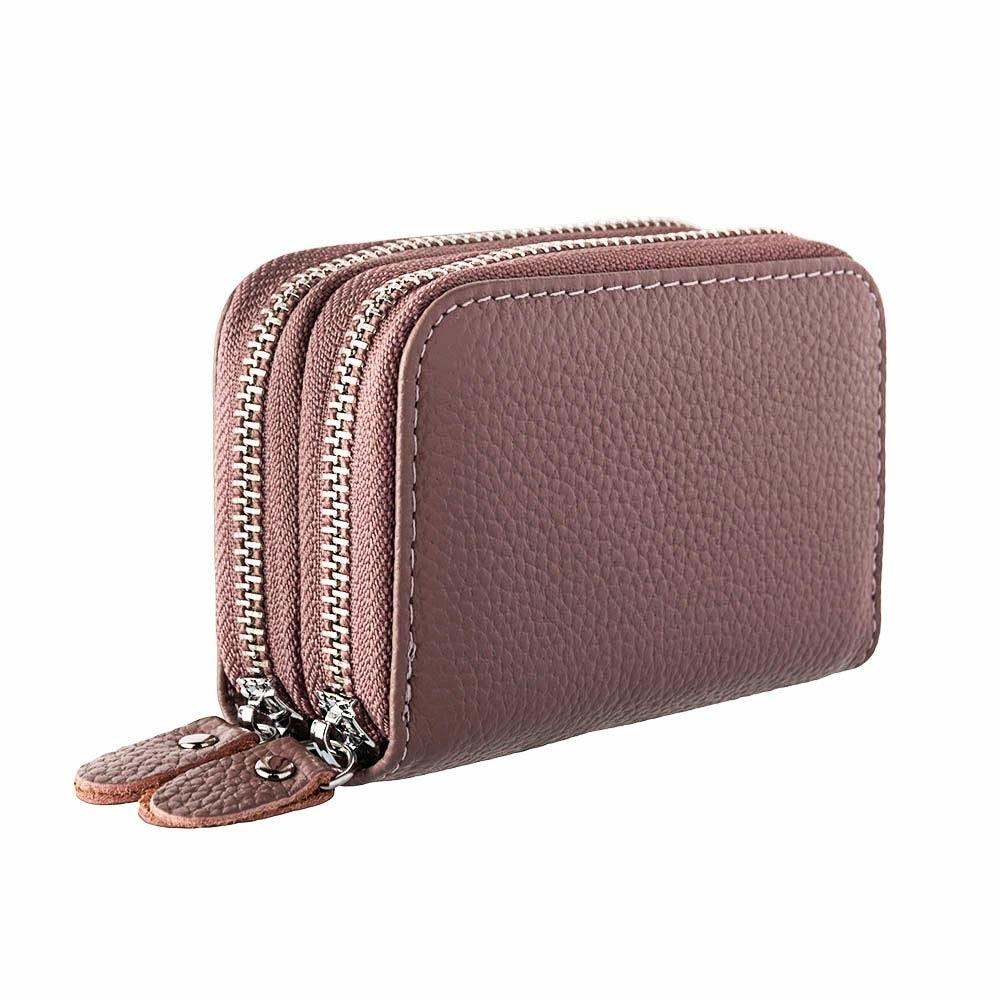 Womens Wallets Purses Multifunctional Female Design Women's Genuine Leather RFID Secure Zipper Credi