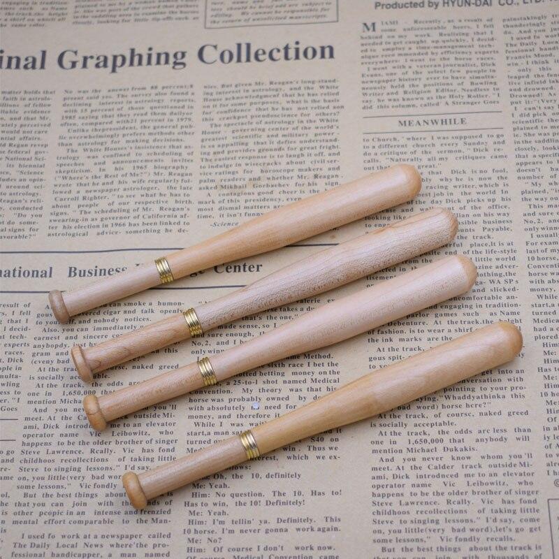 (12 peças/lote) caneta de madeira atacado forma de beisebol esferográfica de madeira canetas ferramentas de escrita promocional