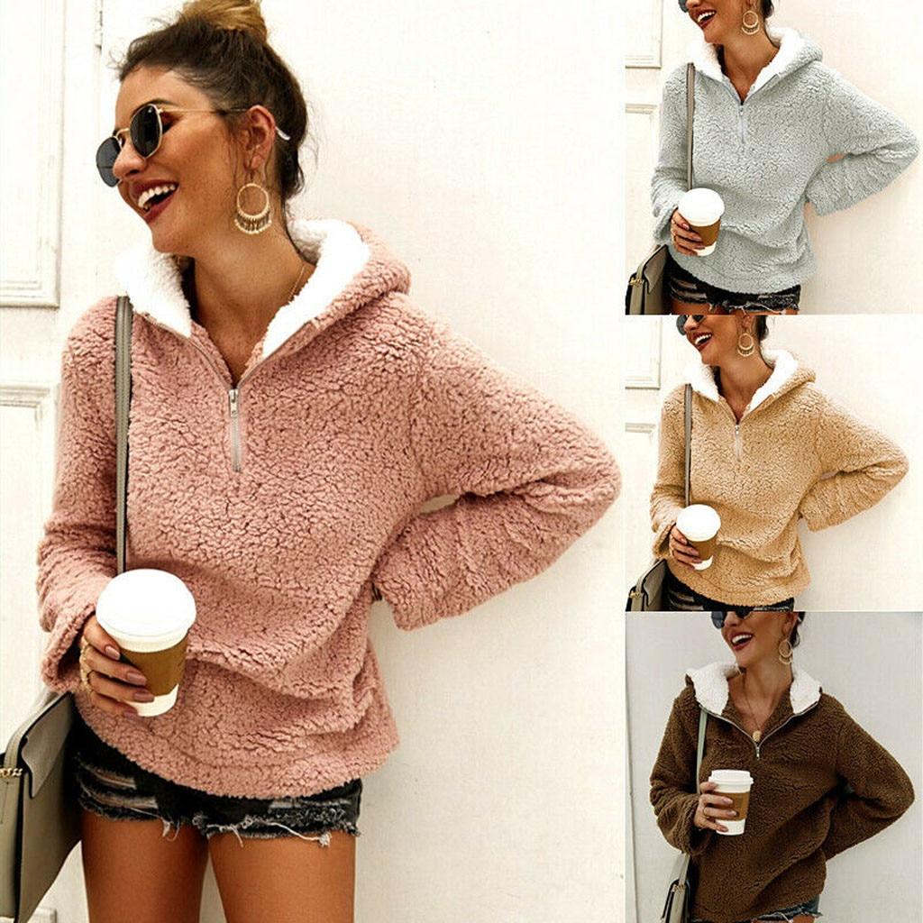 Nuevo Producto moda mujer sólido cremallera Hoodie manga larga abrigo Tops Sweatershirt Dropshipping estilo de moda