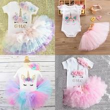 Mi pequeña niña primero 1er vestido de fiesta de cumpleaños bonito tutú Rosa torta trajes niños vestidos bebé niñas bautismo ropa 0-12M