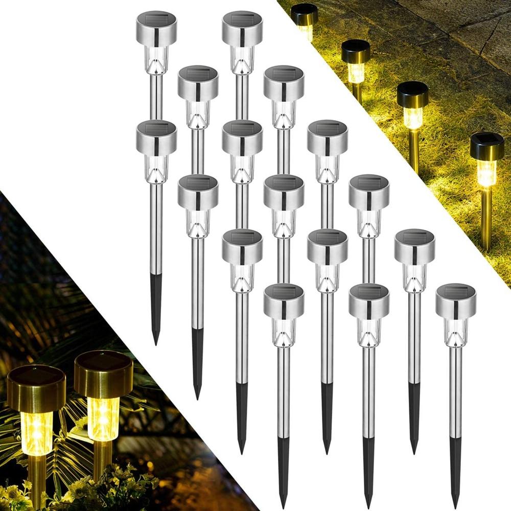 مصباح خارجي يعمل بالطاقة الشمسية ، إضاءة طبيعية للعشب ، الفناء ، الممشى ، الممر ، أبيض بارد/دافئ