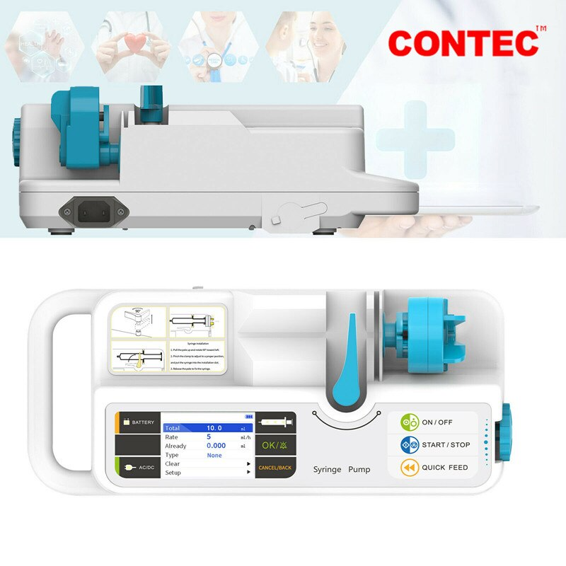 CONTEC العلامة التجارية مضخة حقنة SP950 LCD في الوقت الحقيقي إنذار بطارية قابلة للشحن (الاستخدام البشري أو البيطري)