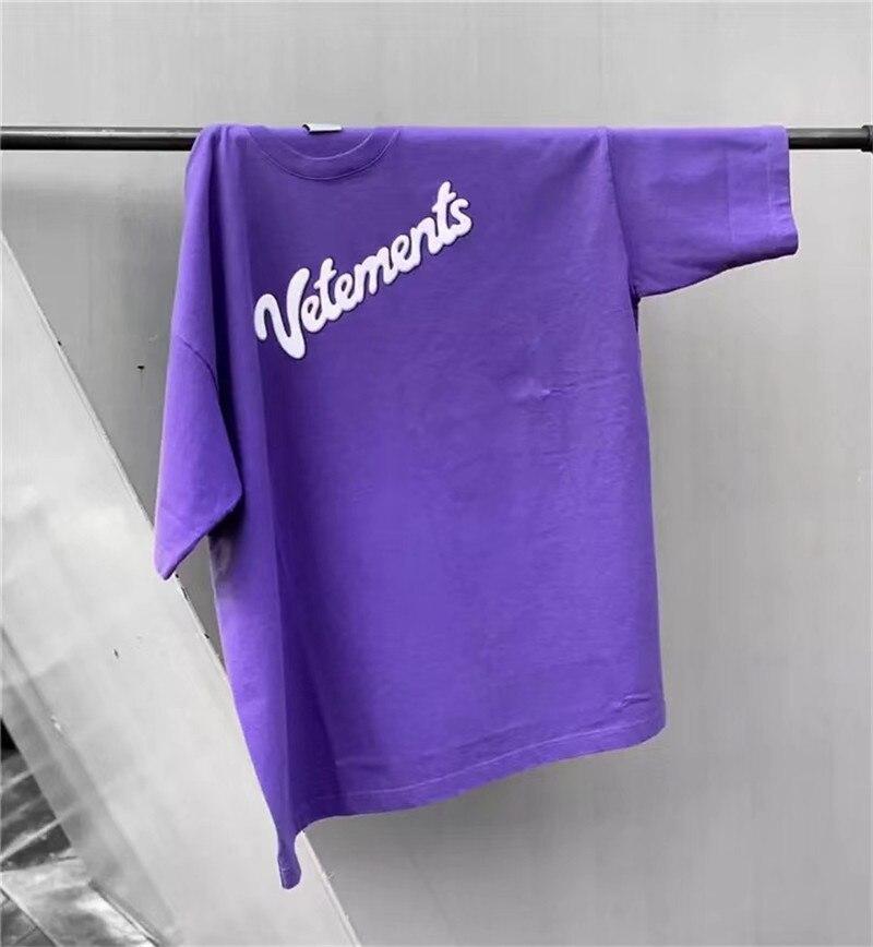 20ss Korea Hip Hop VETEMENTS Purple 3D Foam Printing T Shirt Men Women Oversized Embroidery STARWARS Tee Cotton