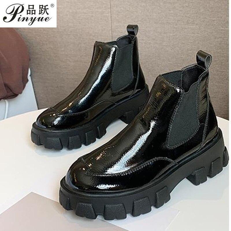 جديد موضة ربيع الخريف منصة حذاء من الجلد النساء كعب سميك منصة أحذية السيدات عامل الأحذية السوداء