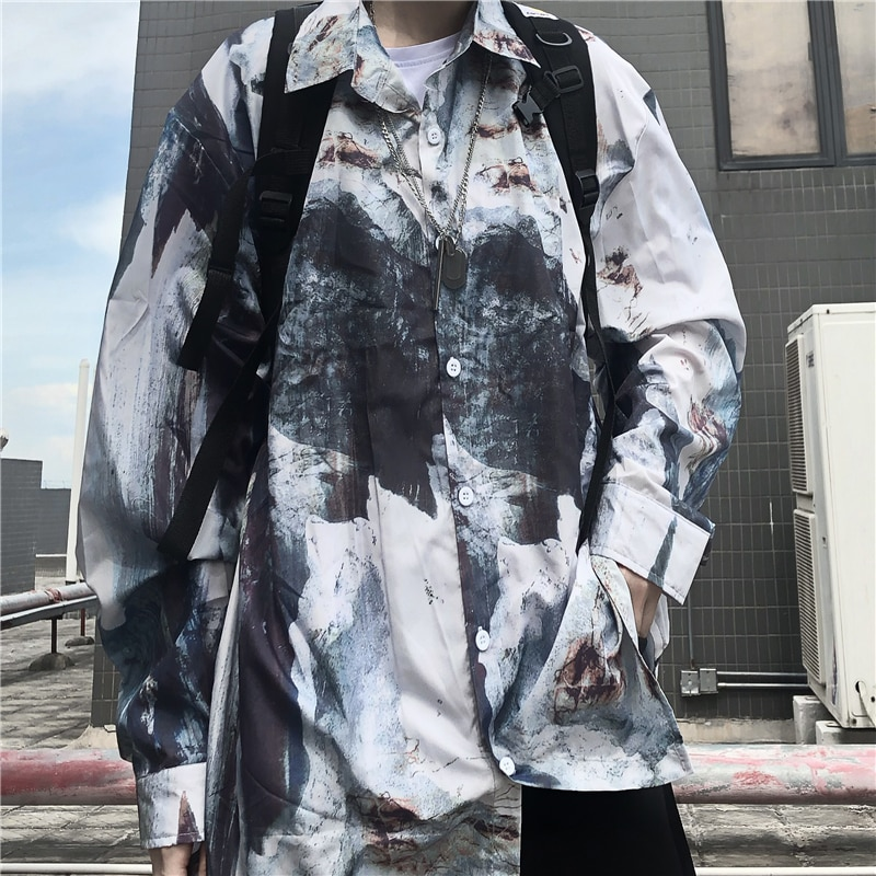 2021 Early Spring New Korean Harajuku Style Hip Hop Ink Printing Loose Long Sleeve Shirt Men and Wom