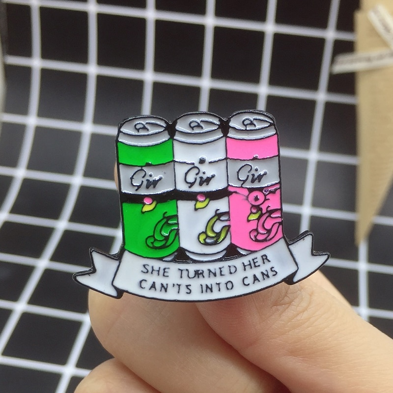 XEDZ tri-color Cola carving cans brooch drink celebration letter ribbon SHE TURNED HER CAN'TS INTO CANS backpack lapel pin gift  - buy with discount