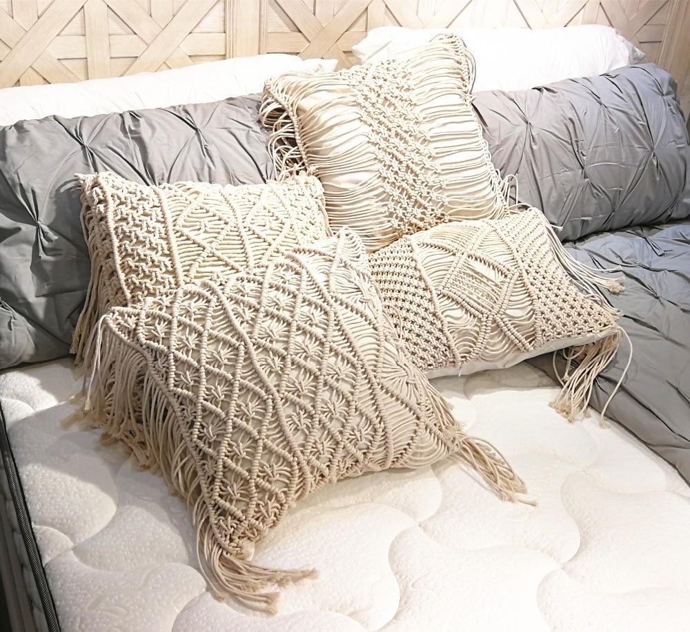 Pillow Case Macrame hand-woven Cotton thread Pillowcase Cotton Linen Geometry Bohemia Pillow Covers home decor decorative
