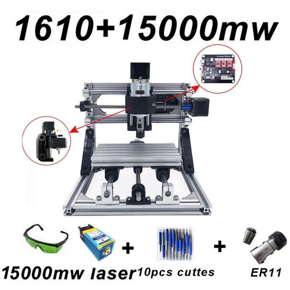 15w cnc1610 máquina de gravura do laser azul 500mw 1500mw 5500mw 15000mw madeira roteador pcb metal escultura em madeira máquina diy carta
