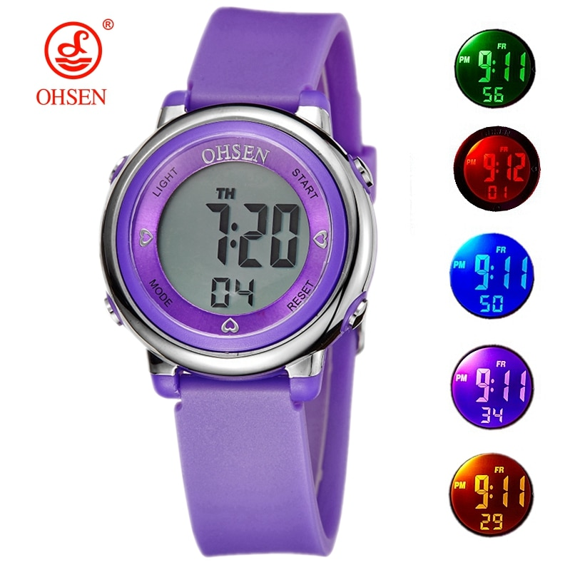 Famous brand OHSEN Girl Women sport digital LCD Watch 50M Diving Purple dial silicone strap cartoon Children wristwatch Kid Gift