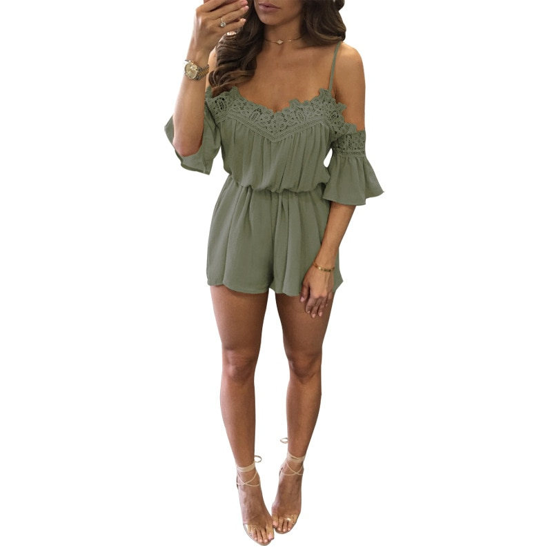 Beach Dress Lace Shoulder Jumpsuit Womens Fashion Black Women Rompers Shorts for