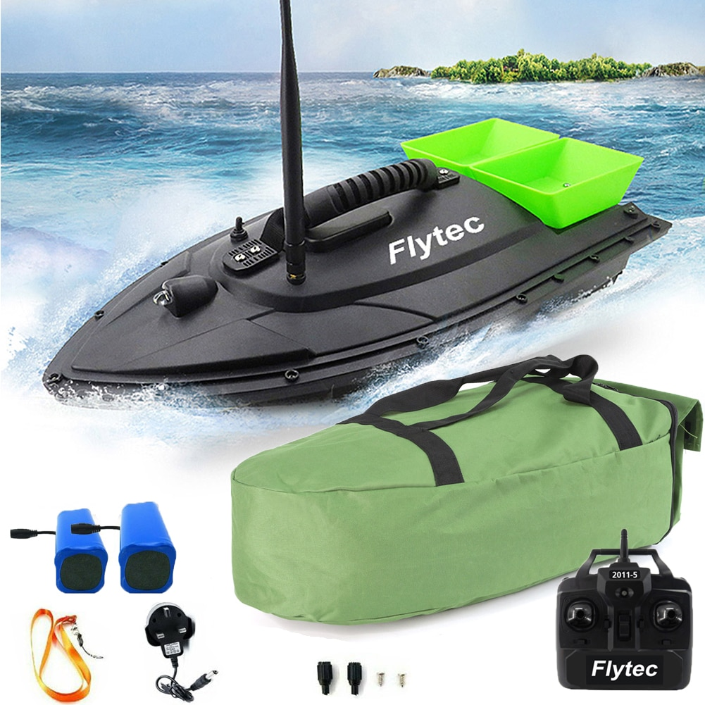 500M RC Wireless Fishing Bait Boat Carp Hook Post Boat Dual Hoppers With Handbag 2 Spare Batteries