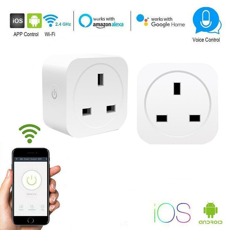 Tomada Inteligente Wi-fi sem fio Soquetes DA UE/REINO UNIDO/EUA 10/16A Tomada de Controle Remoto Interruptor de Tempo Inteligente para Amazon Alexa/Inicial do Google