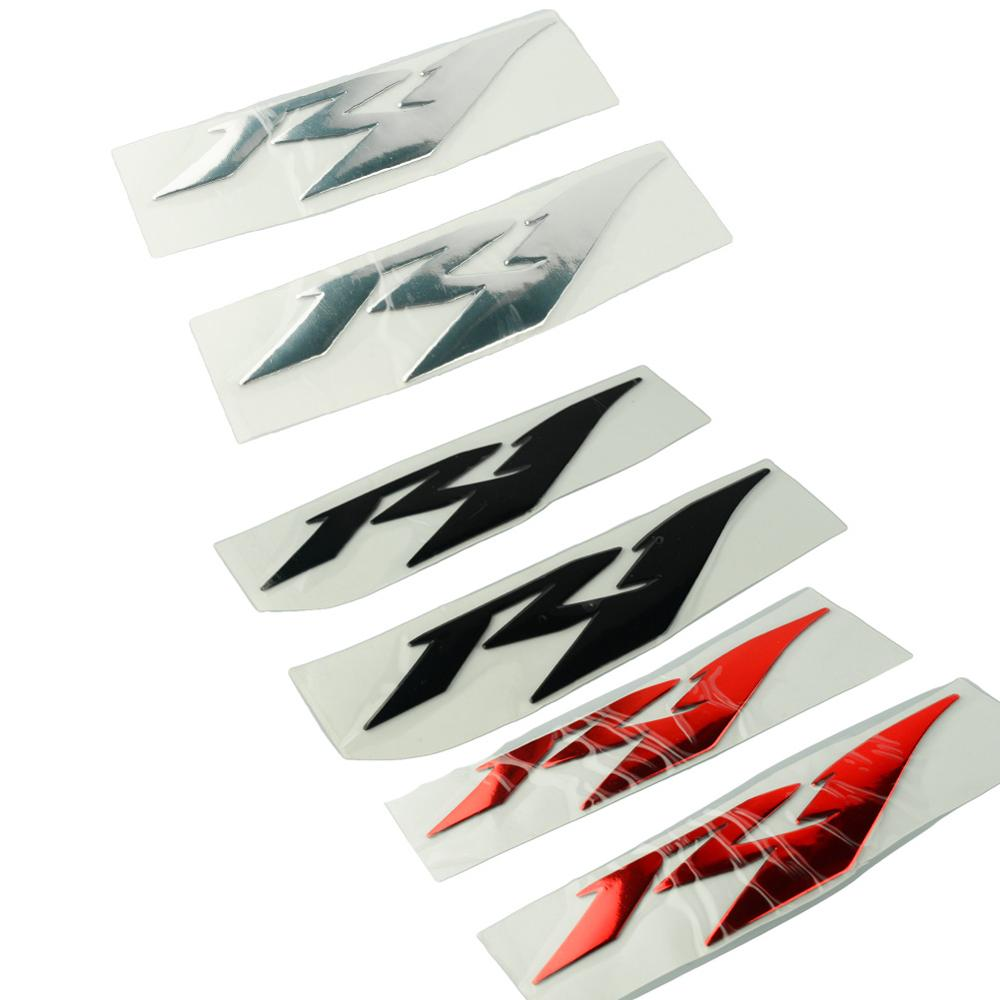 Kit de pegatinas universales para motocicleta, 3D, rojo, dorado, plateado, R1, distintivo para el volante, emblema para Yamaha YZF R1