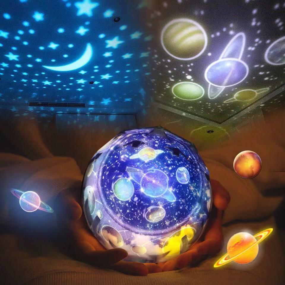 Светодиодный ночник, звездное небо, Волшебная звезда, луна, планеты, проектор, ночник, лампа, яркое вращение, мигающая звезда, детский подарок