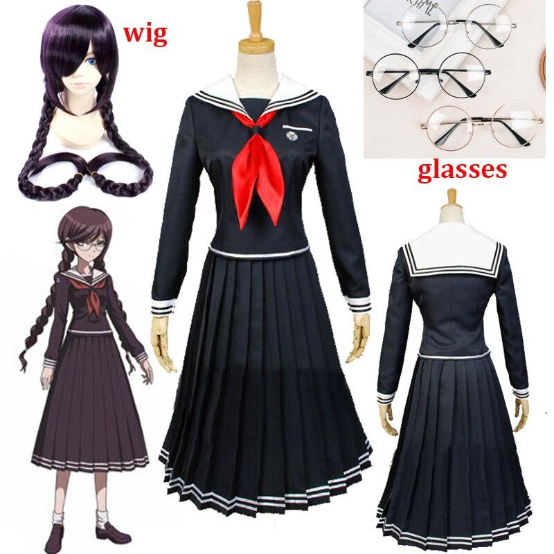Anime Danganronpa Dangan-Ronpa 2 Toko Fukawa Cosplay traje de la escuela uniforme fiesta de Halloween Disfraces Dangan-Ronpa Cosplay peluca