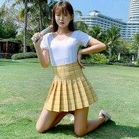 2021 new korean high waisted slim pleated skirt short skirt versatile anti light a line lattice skirt harajuku skirt maxi skirt