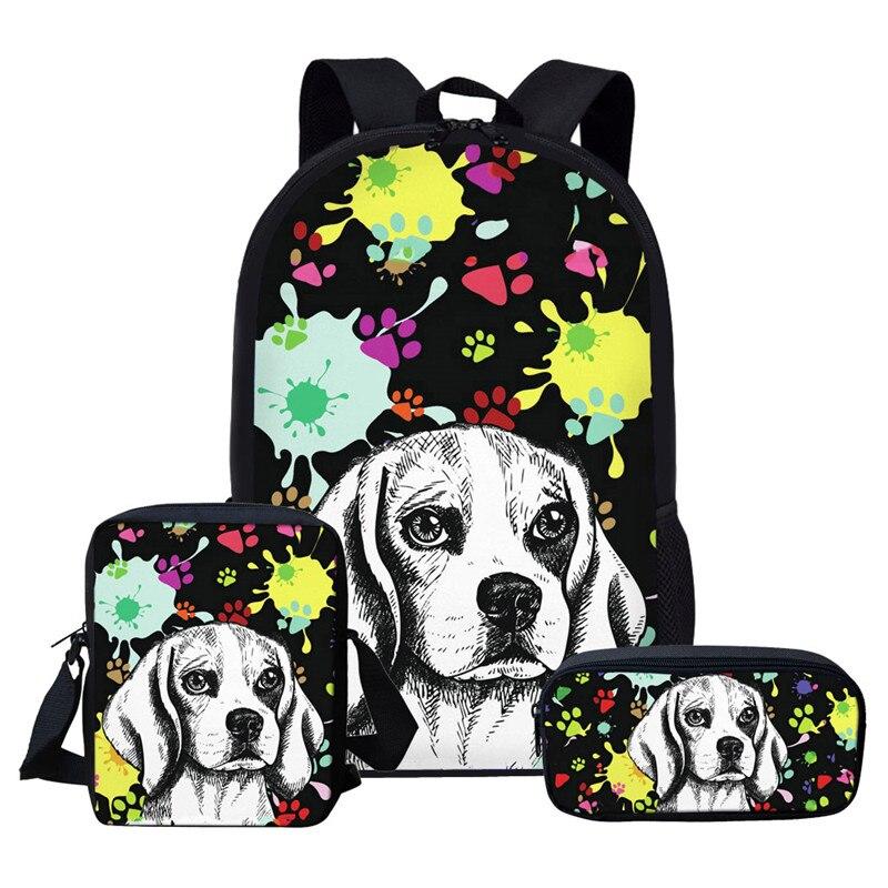 Mochilas personalizadas para niños, mochilas para niños, mochilas para niñas Artsy Beagle Westie Dog, mochilas para escuela primaria, Mochila