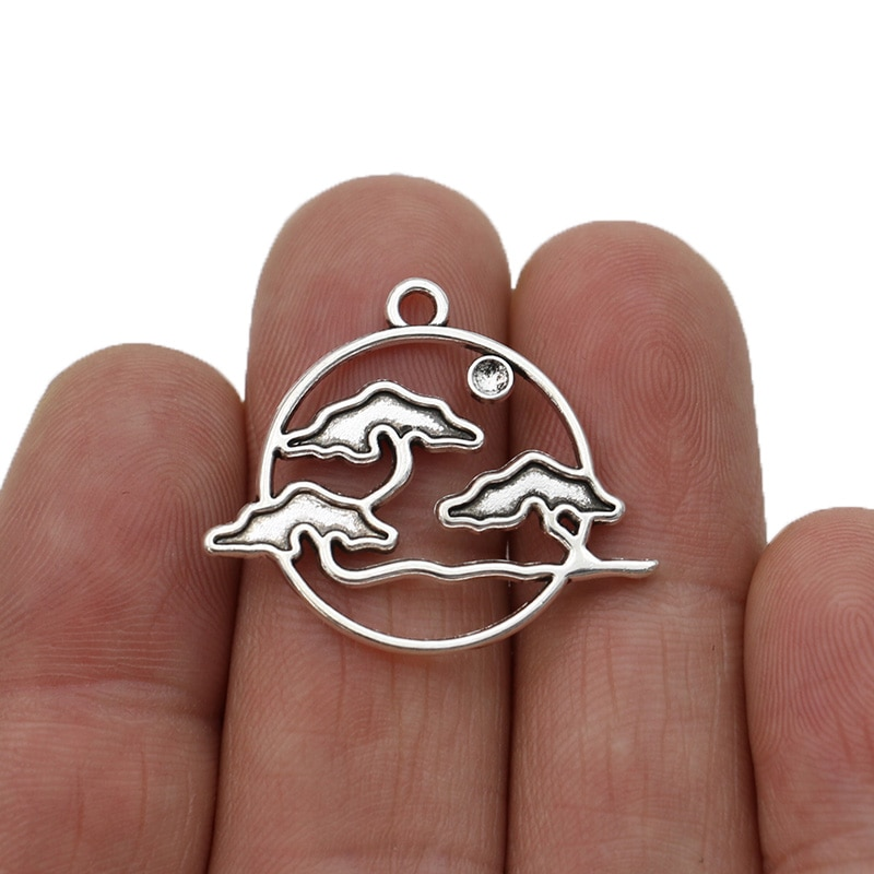 10 stücke Antike Silber Überzogene Landschaft Charms Anhänger für Schmuck Machen Halskette DIY Handgemachte Handwerk 22x25mm