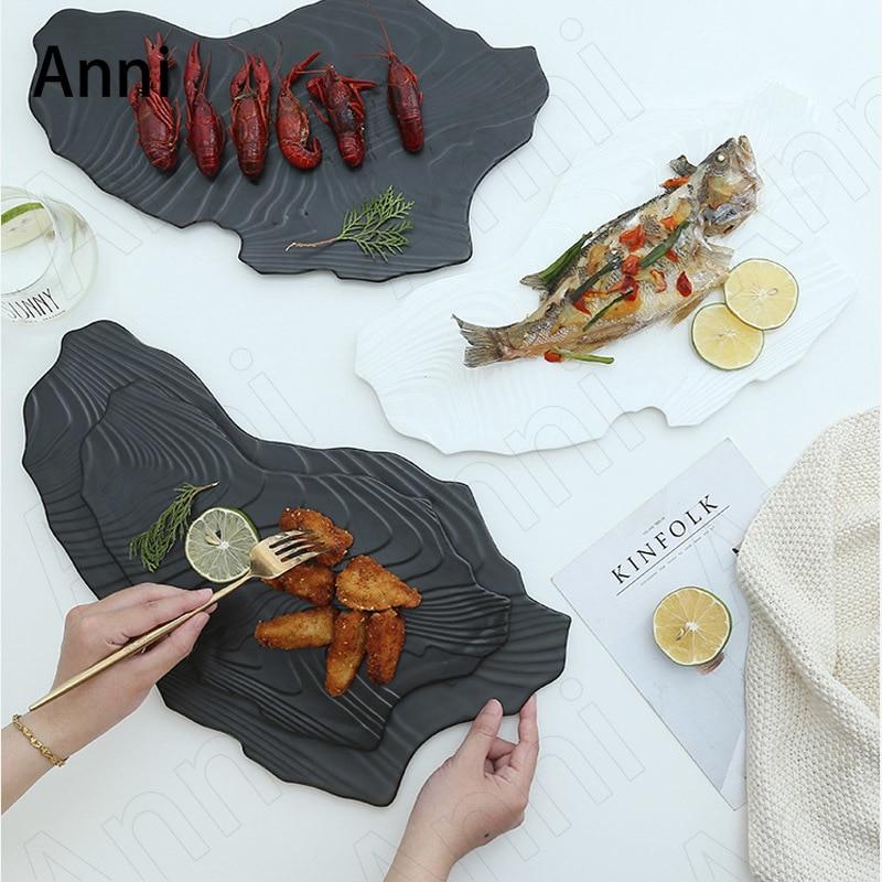 الإبداع على شكل لوحات السيراميك الشمال الحديثة بلون حجر الملمس ستيك المعكرونة طبق عشاء مطعم خدمة فندقية صينية