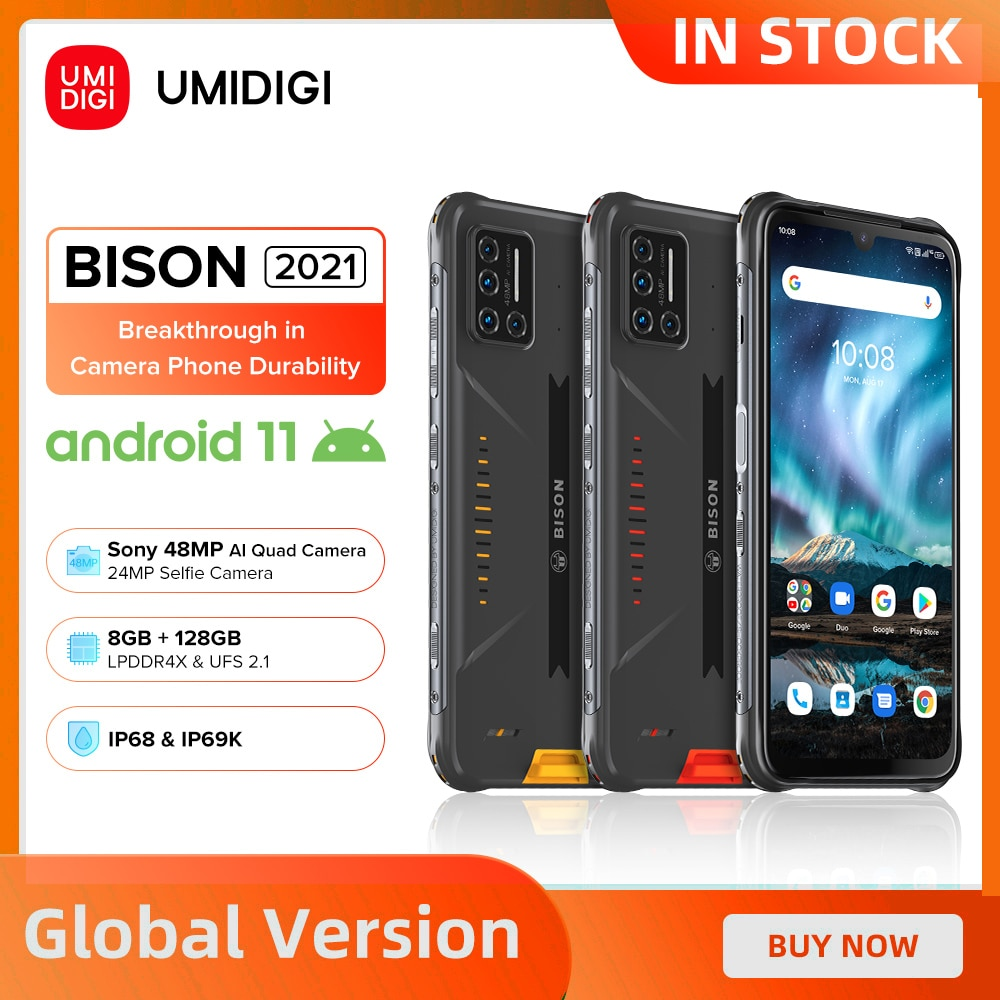UMIDIGI BISON 2021 8GB+128GB NFC IP68/IP69K Waterproof Smartphone Rugged Phone 48MP Matrix Quad Camera FHD+ Display Android 11