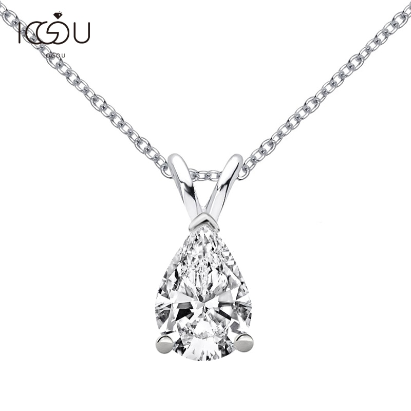 IOGOU 1.5 قيراط D اللون المشاركة مويسانيتي قلادة Neclace 925 الفضة 6*9 الكمثرى مويسانيتي الماس سلسلة مجوهرات بالجملة