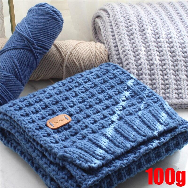 1pc 100g longo fio de algodão grampeado fio grosso para tricô bebê crochê fio tecer fio adorável criativo natural macio