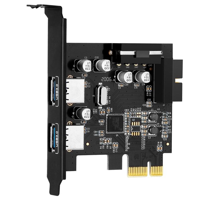 سطح المكتب بكيي 2 ميناء USB3.0 PCI بطاقة Express USB3.0 محور تحكم محول بطاقة مع 19Pin لينكس ، ويندوز ، ماكوس