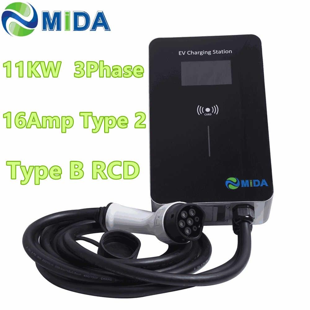MIDA EV зарядная станция 3 фазы 16 ампер 11 кВт EVSE Wallbox RFID карта с типом B RCD 5 м Тип 2 EV кабель для зарядки RFID карта