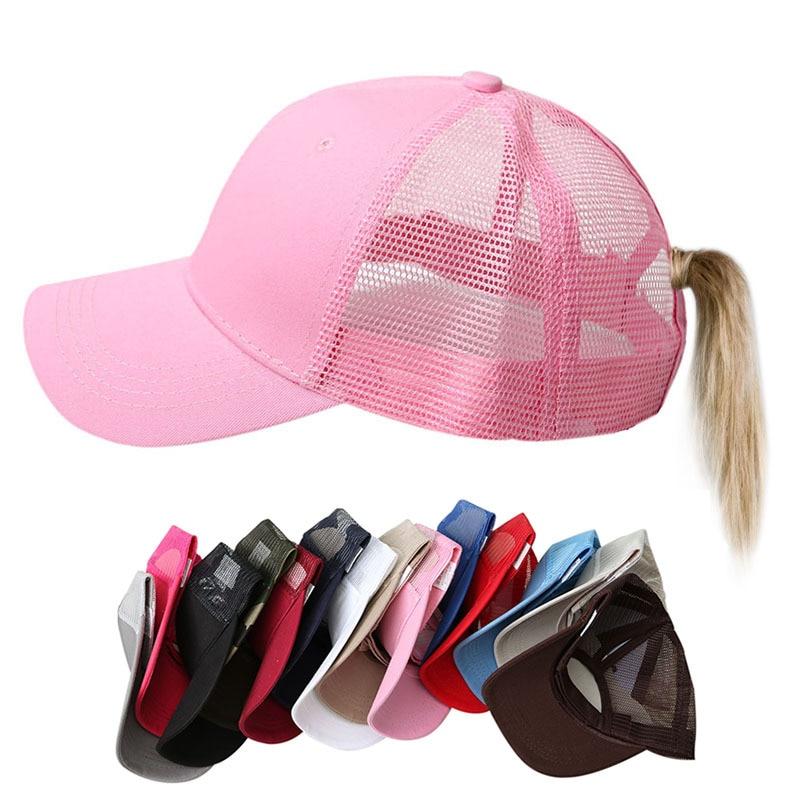 Women's Ponytail Baseball Cap Women Snapback Summer Mesh Hat Female Fashion HIp Hop Hats Casual Adjustable Outdoor Bone