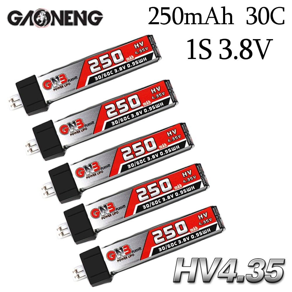 5 sztuk GAONENG GNB 1S 250mAh 3.8V HV 4.35V 30C/60C bateria lipo dla QX65 ostrze Nano QX CPX MSR Inductrix FPV Tiny7 Beta65S Drone