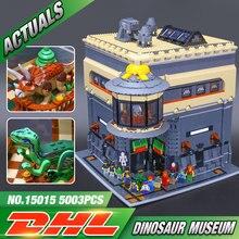 Dhl 15015 5003 pçs rua da cidade o dinossauro museu modelo de construção blocos lepining brinquedos educativos para crianças presentes aniversário