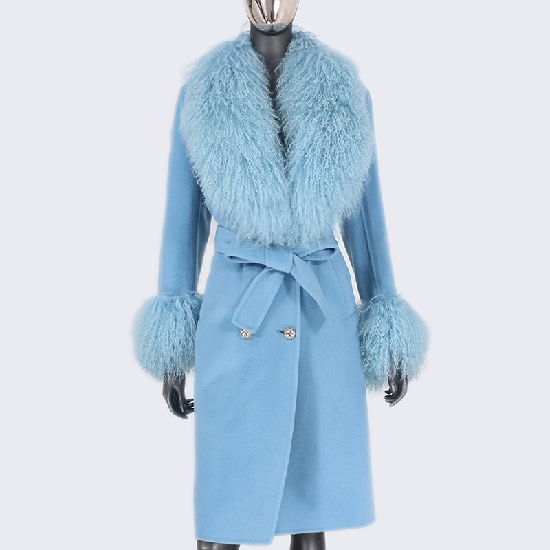 2021X-Long Natural Mongolia Sheep Real Fur Coat Autumn Winter Jacket Women Double Breasted Belt Wool