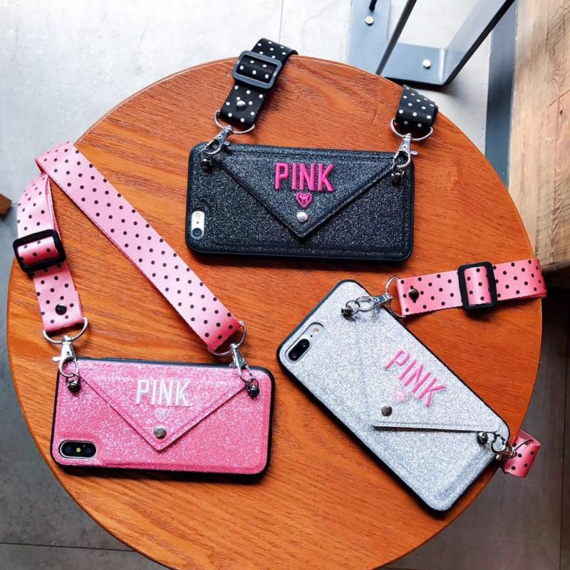 De Lujo brillo Rosa bordado de cuero caso para el iPhone 7 7Plus onda moda cordón funda para iphone XS Max X 8 Plus