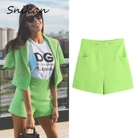 green woolen tweed shorts fashion office ladies buttons pantalon capris with pockets za 2021 women summer vintage casual outwear