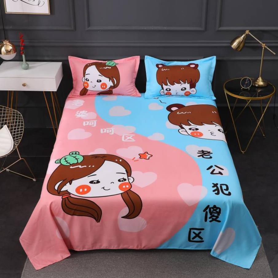 عشاق الكرتون نمط غطاء سرير مزدوج العصرية المنزلية الفراش غطاء السرير حجم كبير غطاء سرير s المنزل مع المخدة F0202