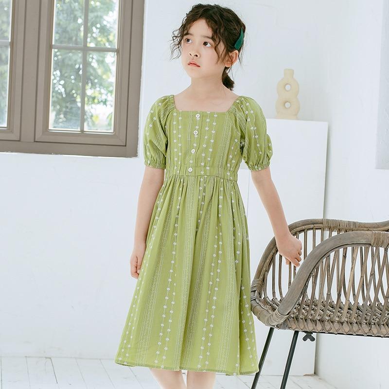 2020 Summer New Retro Girls Dress Korean-style Kids Floral Dresses for Baby Girls Short Sleeve Cute Princess Dresess, #8579