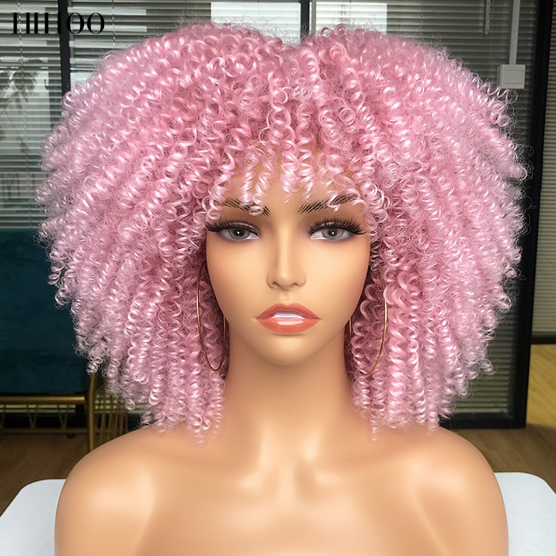 Short Hair Afro Kinky Curly Wig With Bangs Black Pink Wig Cosplay Lolita Wigs For Women Ombre Synthetic Natural Wig Blonde Wig